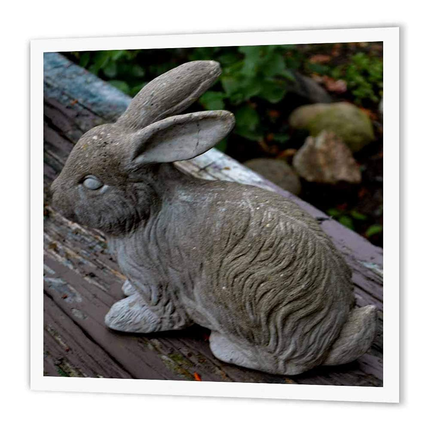 3dRose ht_165305_3 A Sweet Little Bunny Statue That Sits in A Garden - Iron on Heat Transfer, 10 by 10