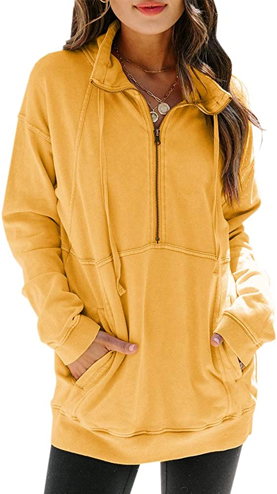 Womens Year-end annual account Half Zip Branded goods Up Sweatshirts Pocket Loose P Long Sleeve Casual