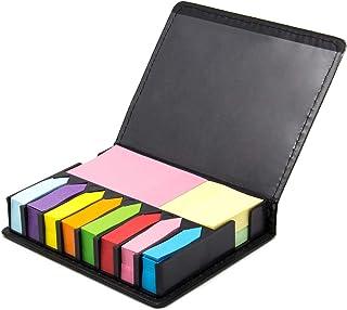 Ofidosel Kit Porta Notas Adhesivas Estuche de Notas de Curpiel. Organizador de Escritorio para Oficina, Escuela o Trabajo. Incluye Notas Adheribles de Varios Colores y Separadores. Medidas 12.6 X 2.8 X 10.5 cms. Organizer.