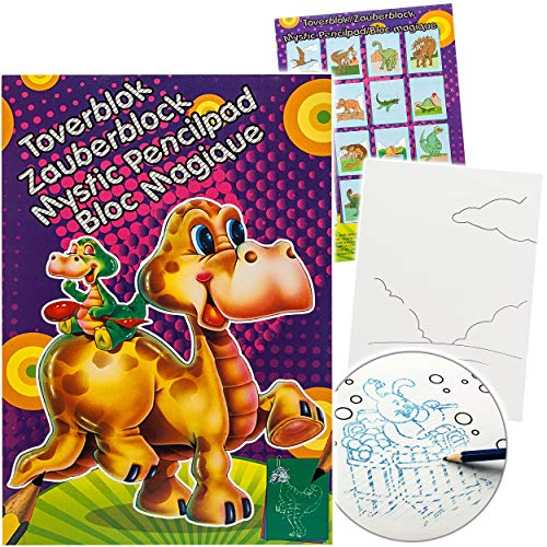 alles-meine.de GmbH Malbuch / Malblock - A5 - Zauberpapier - Zauberblock - lustige Tiere / Dinosaurier & Dinos - Zaubermalblock Zaubermalbuch - für Stifte & Bleistift - Bastelbuc..