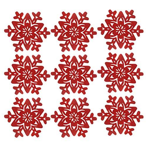Amosfun 12pcs Tappetino Tazza di Natale Fiocco di Neve Tazza sottobicchiere Tappetino tovaglietta Tazza di caffè Decorazioni per la casa di Natale