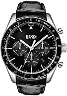 Hugo Boss Mens Quartz Watch, Analog Display and Leather Strap 1513625