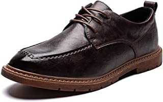 S.Y.M Men Shoes Business Oxford for Men Work Shoes Lace up Microfiber Leather Lightweight Solid Color Anti-slip Stitching
