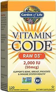 Garden of Life D3 - Vitamin Code Raw D3 2000 IU, 120 Capsules - Whole Food Vegetarian Vitamin D3 Supplement for Bone, Immu...