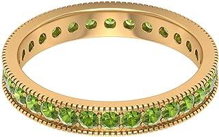Rosec Jewels - Anillo de banda de peridoto creado en laboratorio de 1,5 quilates, banda de eternidad con set de canales, b...