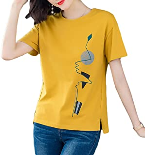 Fashring Women's Short Sleeve Colorblock Slim Fit Summer Tee Top Blouse