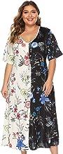 Lenfesh Falda de Verano Blanca para Mujer Casual Tallas Grandes Cuello en V Manga Corta Floral Impreso Bicolor Vestidos Largos Vestido de Fiesta