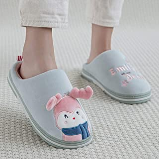 Winter Home Warm Cartoon Plush Cotton Slippers-Comfortable Indoor Thick Bottom Non-Slip TPR Couple Men's Home,Green,36