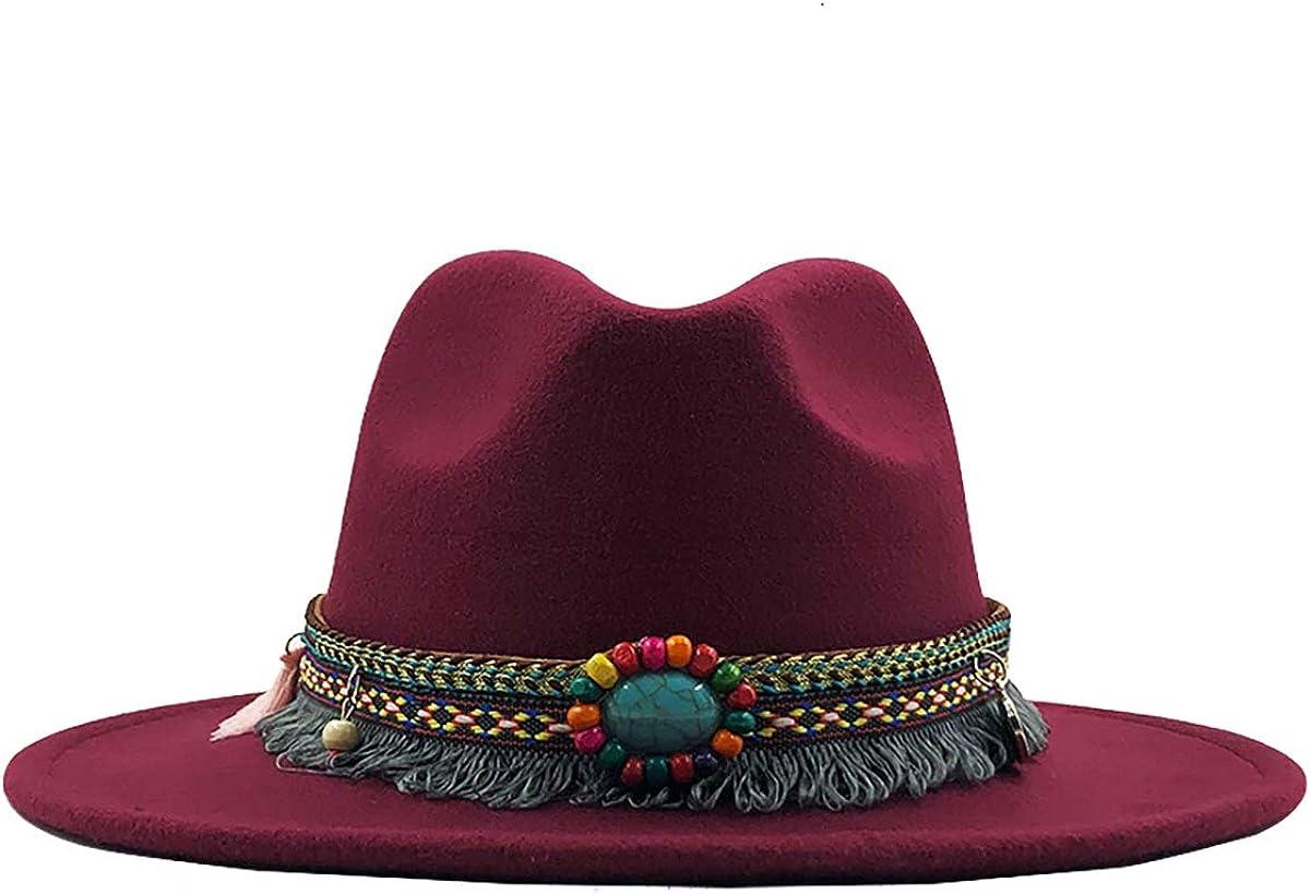 LKXHarleya Vintage Gemstone Wide Brim Wool Felt Fedora Hat, Panama Trilby Hat Cowboy Hat Men Women