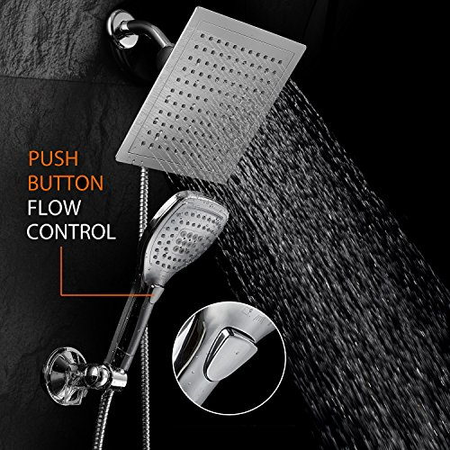DreamSpa Ultra-Luxury 9 Rainfall Shower Head/Handheld Combo. Convenient Push-Button Flow Control Button for easy one-handed operation. Switch flow settings with the same hand! Premium Chrome