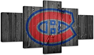 AsheArt Wall Pictures Home Decor NHL Ice Hockey Canvas Prints Montreal Canadiens Wall Art Living Room Decoration Framed Poster Ready to Hang(60''Wx32''H)