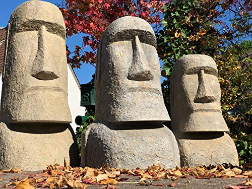 NaRoom Moai Kopf Osterinsel Skulptur ca. 150 cm Rapa-NUI Statue Sand-Stein Figur Garten Deko