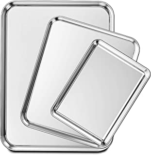 ورق پخت ورق های Wildone از 3 ، ورق پخت کوکی از جنس استیل ضد زنگ ، 9/12/16 اینچ ، غیر سمی و سنگین و تمیز کردن آسان
