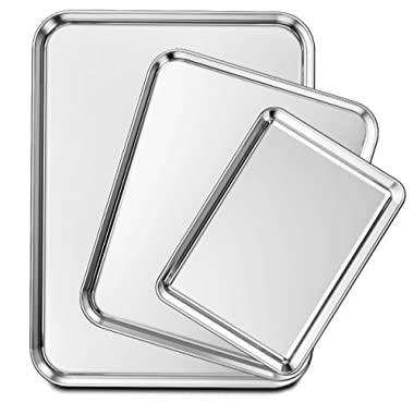 Wildone Baking Sheet Set of 3, Stainless Steel Cookie Sheet Baking Pan, 9/12/16 Inch, Non Toxic & Heavy Duty & Easy Clean