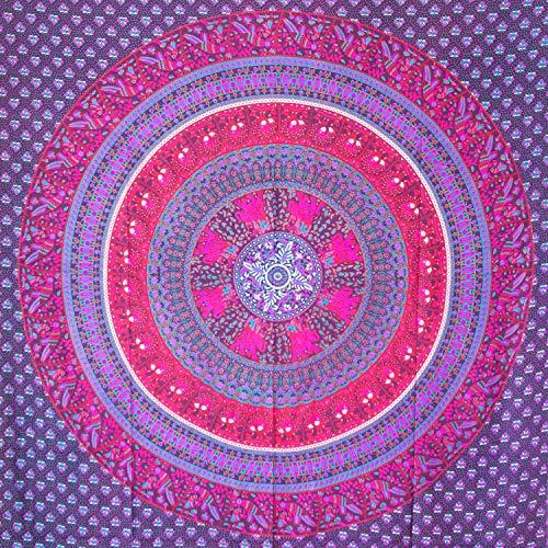 MOMOMUS Arazzo Mandala - Etnico - 100% Cotone, Grande, Multiuso - Pareo/Telo Mare Matrimoniale - Telo Arredo Copridivano/Copritutto - Telo da Parete XXL - 210x230 cm, Viola