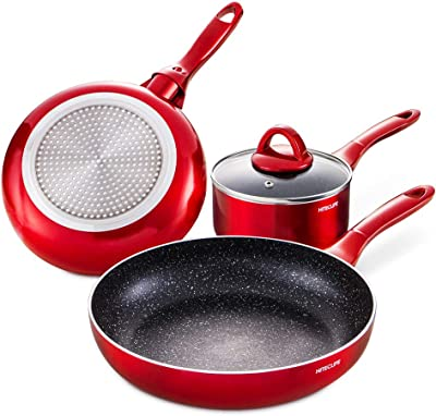 HITECLIFE Cookware Set, 4 Pieces Nonstick Pots and Pans, Chemical-Free Kitchen Sets with Stay-Cool Handle, Induction Saucepan, Frying Pan, Stir Fry Pan, Skillet, Red, Dishwasher Safe