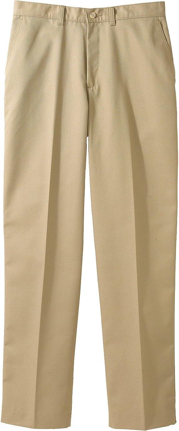 Edwards Garment Men's Casual Chino Flat Front Dress Pant, TAN, 34 33