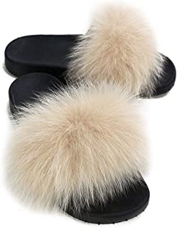 MISSJANEFUR Womens Real Fox Fur Slippers Furry Slide Sandals Indoor Outdoor Flat Soles Single Strap Spring Summer Shoes