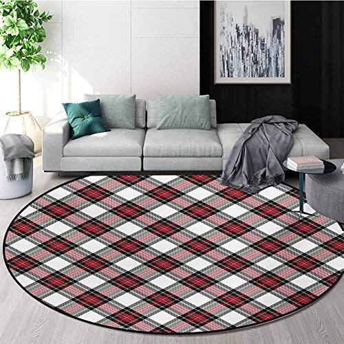 Amazing Deal RUGSMAT Tartan Warm Soft Cotton Luxury Plush Baby Rugs,Traditional Plaid with Diagonal ...