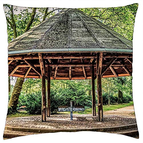 Throw Pillow Cover,Gazebo Park Landscape Garden Wooden Pillowcase,Funny Cute Cushion Covers For Neck Pain,45x45cm