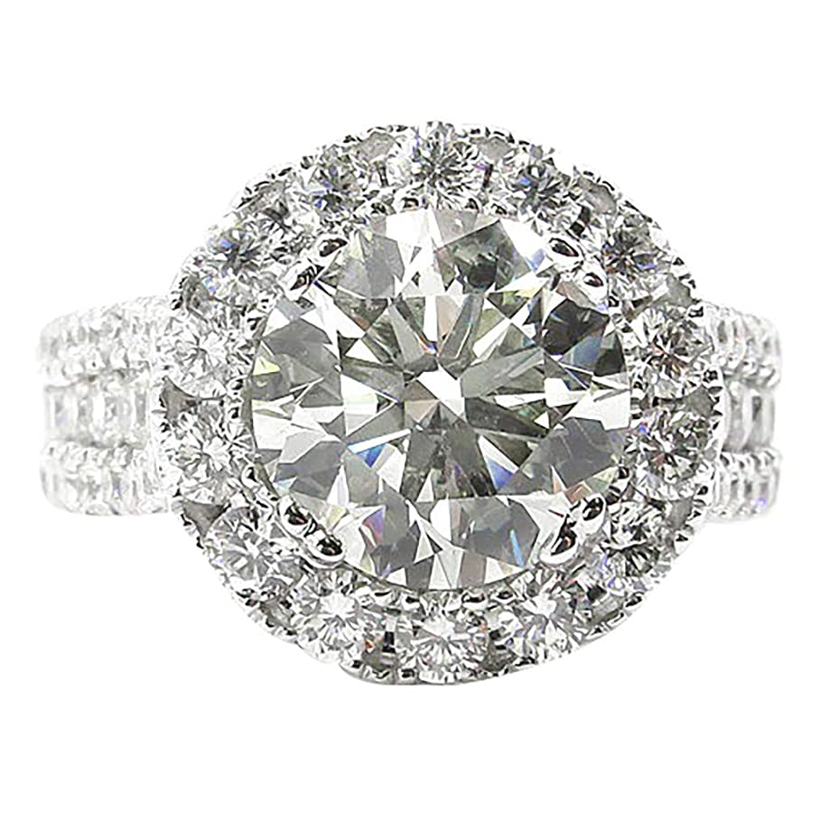 White Silver Classic Simulated Diamond Engagement Ring Graduated Side Stones Promise Bridal Ring