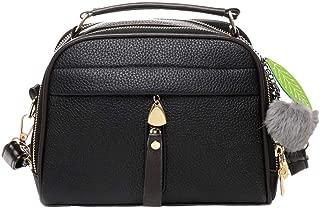 Waymine Women's Shoulder Bag Solid Crossbody Bag Hairball Hand Bag Square Messenger Bag