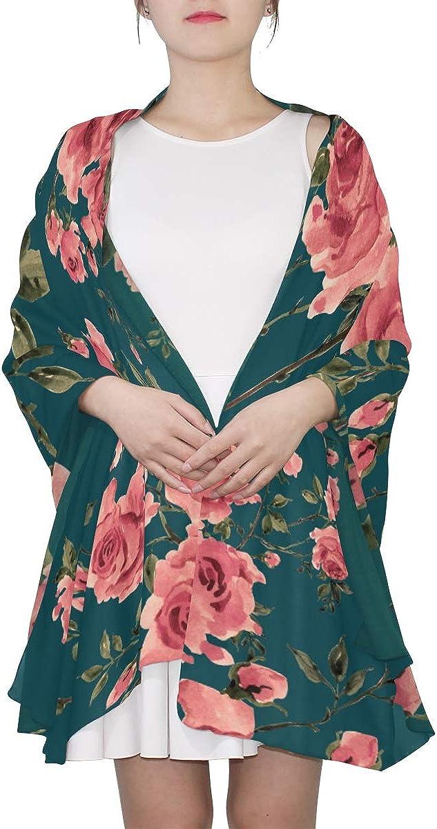 Lightweight Fashion Scarf Cartoon Floral Beautiful Rose For Lady Womens Fashion Scarf Scarf Shawl Lightweight Print Scarves Wrap Or Shawl Print Shawl Wrap