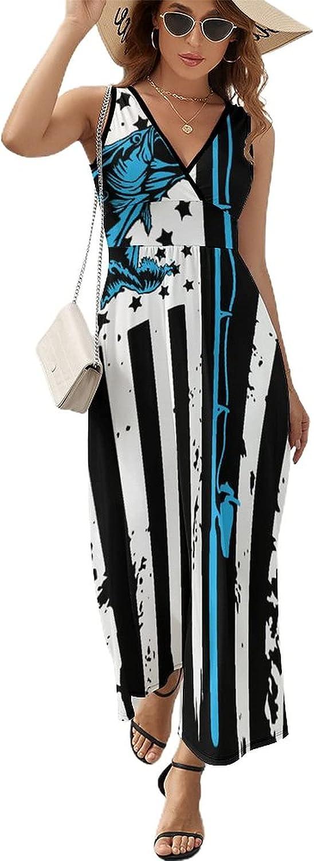 BAIKUTOUAN Fishing American Flag Long Women for wit Dress Inexpensive Max 63% OFF Summer