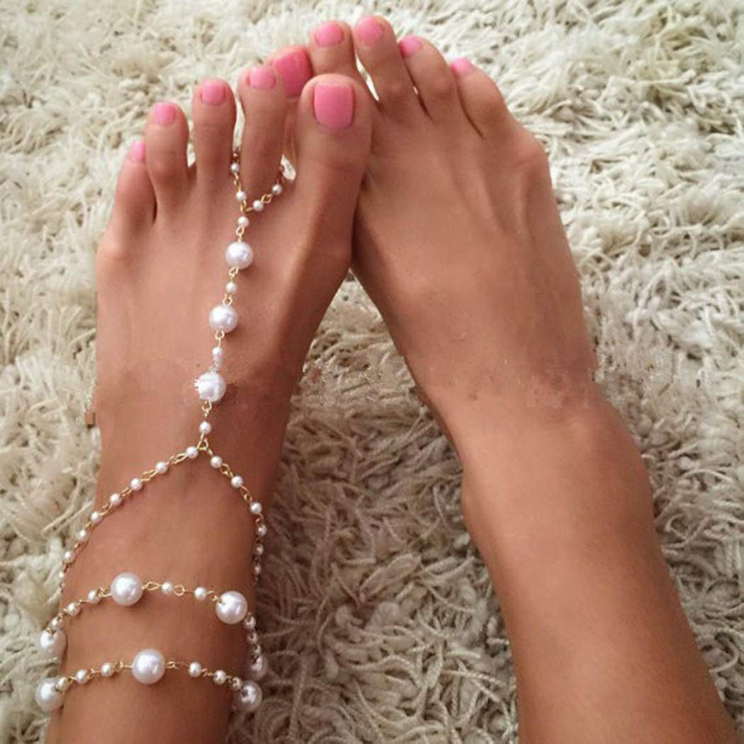 Ajacry Boho Layered Anklets Chain Bracelets Large-scale sale Ankle Beaded Pearl F Elegant