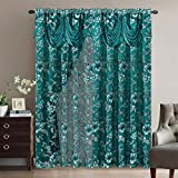 Roman Romance. Burnt-Out Printed Organza Window Curtain Panel Drape with Attached Fancy Valance and Taffeta Backing (Teal Green, 55 x 84 inches + Attached Valance x 2pcs)