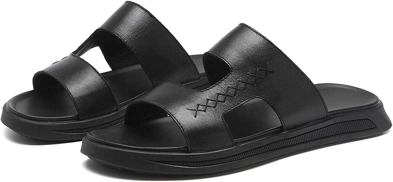 Men's Sandal Summer top Layer Leather shoes Breathable Non-Slip Soft Soles Sandal Men