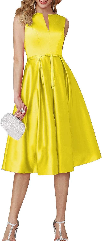EverBeauty Womens TeaLength Sleeveless Satin Cocktail Party Dress Short Aline Evening Homecoming Dress