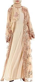 REALIKE Muslimische Damen Robe Kaftan Maxikleid Langarm Rayon Sticken Gewand Formal Modest Abendkleid Gro/ße Gr/ö/ße Abaya Dubai Kleider Muslim Frauen Hochzeit Kleid Tunika Kleidung islamischen Kleid