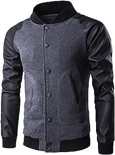 Unisex Basic Hip Hop Urban Bomber Jacket Baseball Jackets Coat PU Leather Sleeve