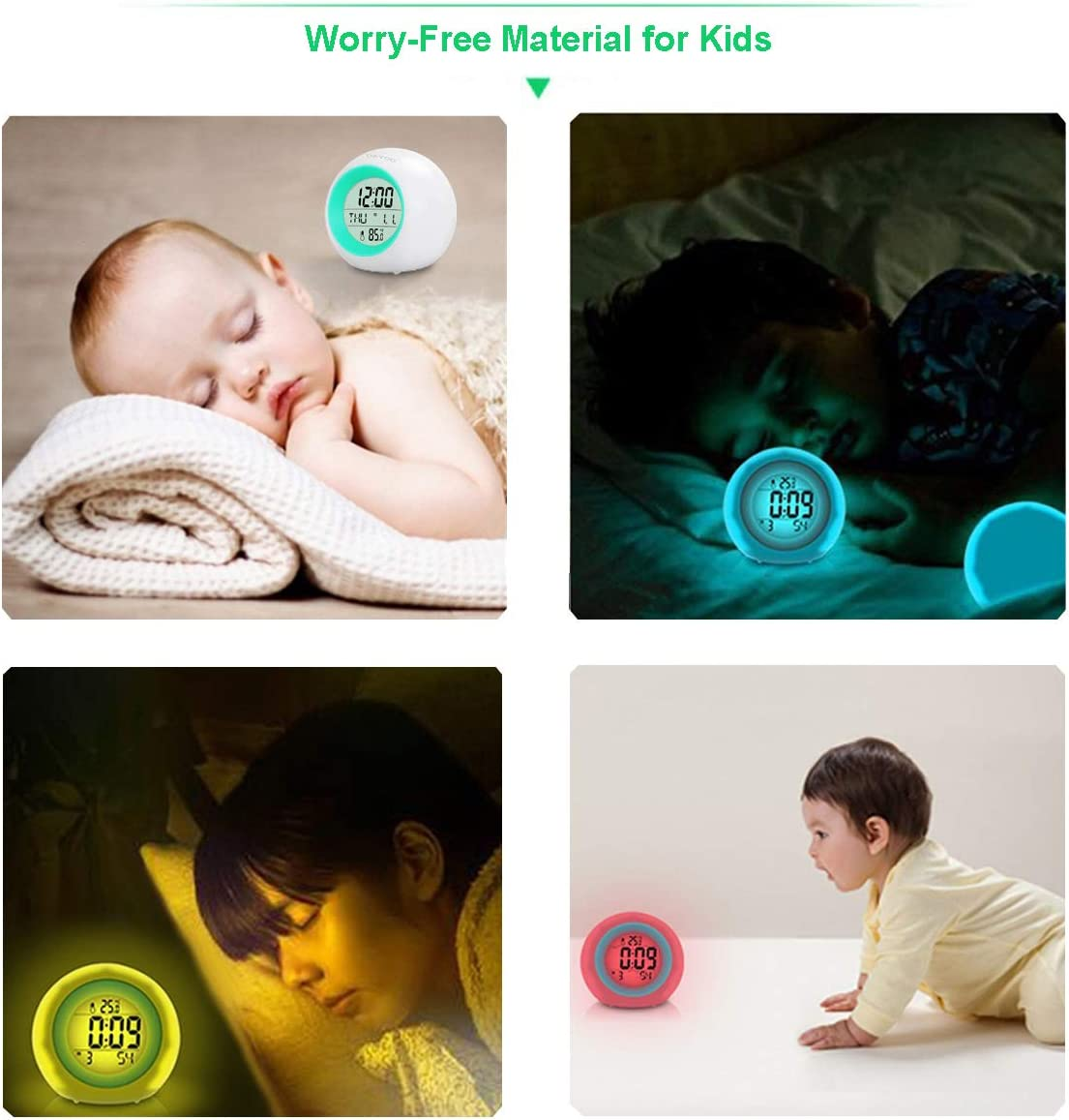 Snooze Kids Alarm Clock Temperature for Children Bedroom Newest Version with Rechargeable Lithium Battery Digital Clock for Kids Girls Boys Gifts Touch Control 7 Color Changing Night Light