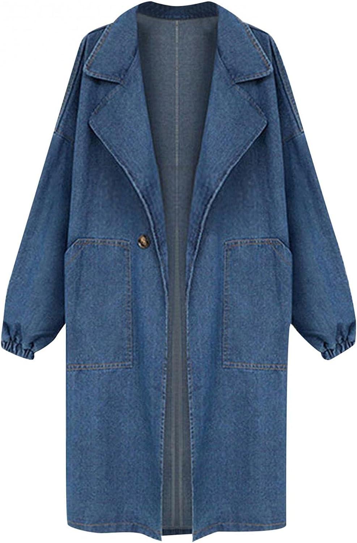 YUNDAN Women's Classic Long Jean Jacket Long Sleeve Lapel Plus Size Loose Button Down Denim Trench Coat Outwear