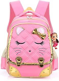 Hyundly Cat Face Waterproof School Backpack for Girls Book Bag (Medium, pink1)