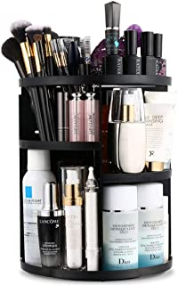 AI&U 360° Rotating Makeup Organizer,DIY Adjustable Jewelry Cosmetic Perfumes Display Stand Box,Multi-Function Acrylic with 7 Layers Great Capacity Make Up Storage for Bedroom, Bathroom (Black)