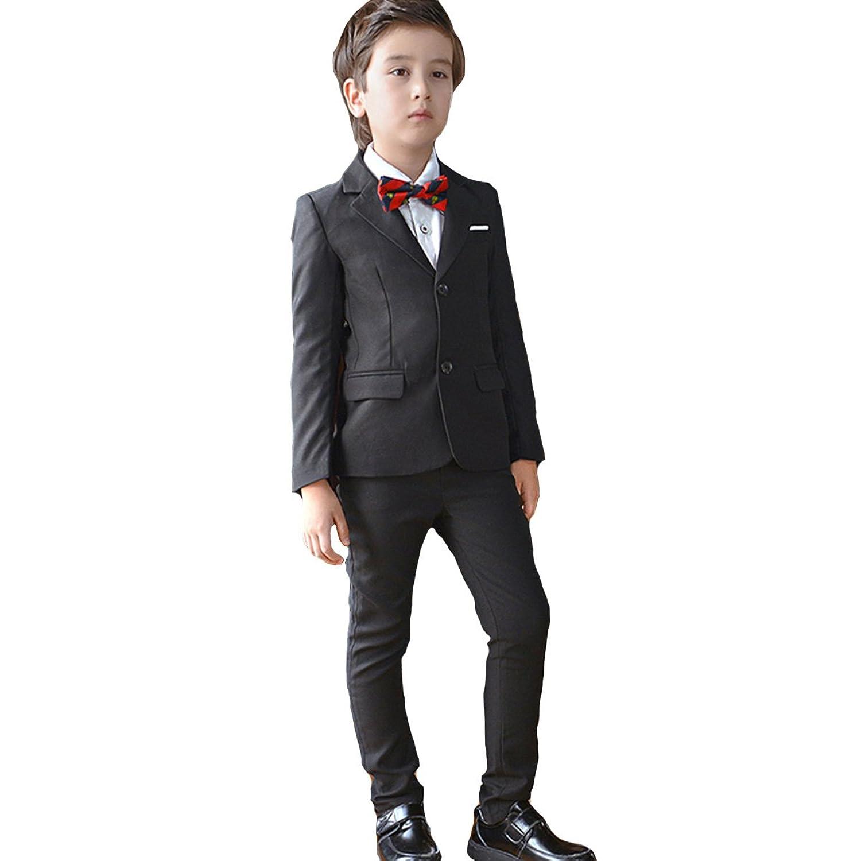 (AIMI)男の子 フォーマル スーツ 子供服 4点セット ボーイズ 黒無地 キッズ 卒業式 入学式 結婚式 入園式 発表会 NT007