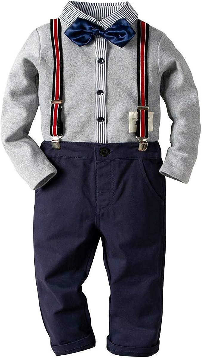 LJYH Baby Boy's Gray Gentleman Set Striped Jumpsuit Long Sleeve Shirt Bib Pant Bowtie Romper 2 PCs Outfits