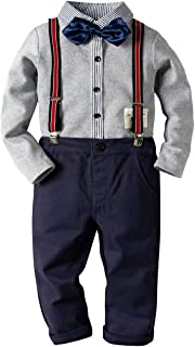 Fairy Baby Boys Outfit Formal Clothes Set Gentle Bowtie Shirt+Suspender Overall Pant Set