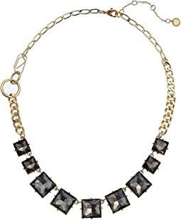"""Square Stone Frontal Necklace 18"""""""