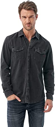Salsa Camisa Negra Vaquera de fit Slim: Amazon.es: Ropa