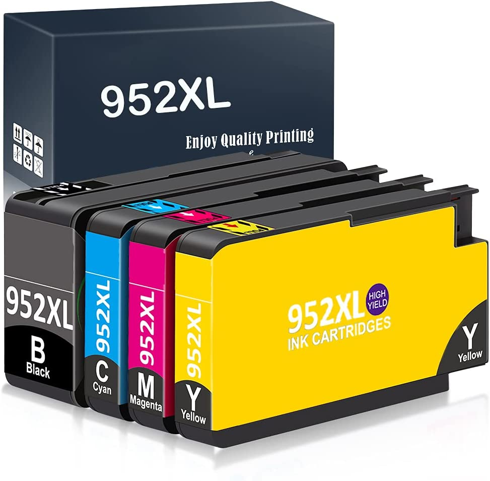 Kappiek Remanufactured Ink Cartridge Replacement for HP 952XL Ink Cartridges Combo Pack, Use for OfficeJet Pro 8710 8720 8740 8730 7740 8210 8715 8216 8725 Printer (1 Black 1 Cyan 1 Magenta 1 Yellow)