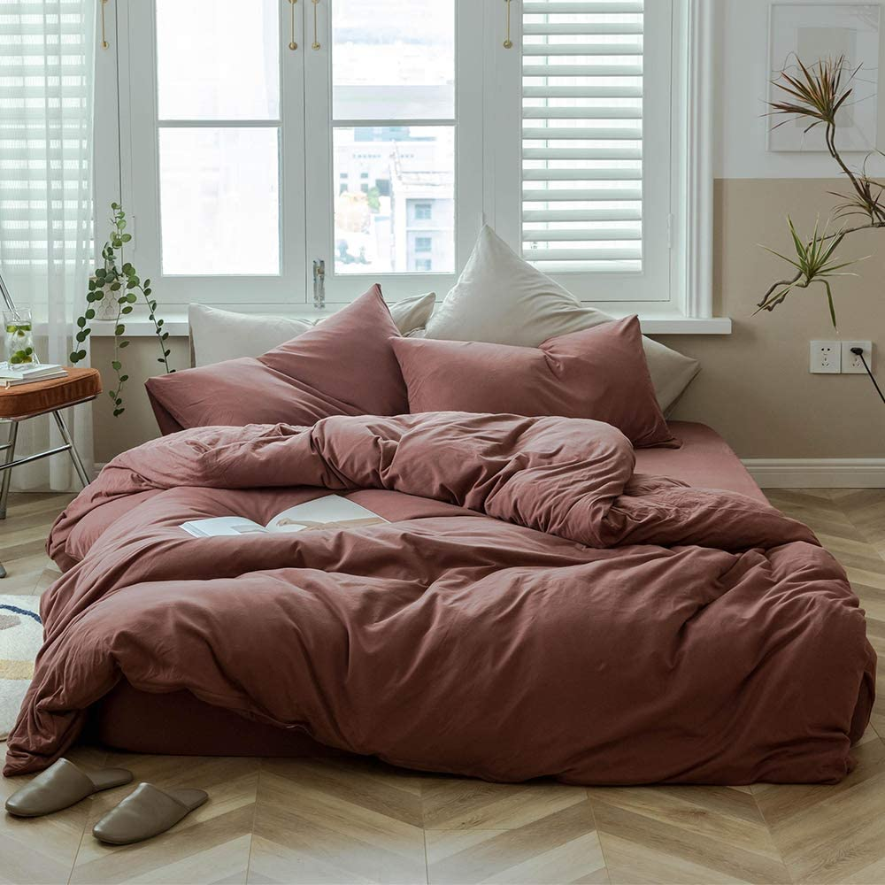 MKXI Brick Red Duvet Cover Queen Size Solid Red Bedding Set Breathable Soft Knitted Cotton Simple Bedroom Collection Easy Care Solid Color Adults Bedding Zipper Closure