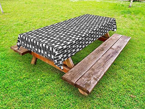 ABAKUHAUS Schlittschuhläufer Outdoor-Tischdecke, Moderne Skateboard-Muster, dekorative waschbare Picknick-Tischdecke, 145 x 305 cm, Charcoal Grau und Weiß
