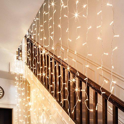 Lights4fun - Serie CORE - Tenda di Luci Estensibile di 2x2m con 192 LED Bianco Caldo su Cavo Trasparente per Interni ed Esterni