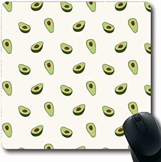 Ahawoso Mousepads Doodle Brown Pattern Avocado Organic Food Drink Sliced Green Fun Fruit Simple Vegan Breakfast Oblong Shape 7.9 x 9.5 Inches Non-Slip Gaming Mouse Pad Rubber Oblong Mat