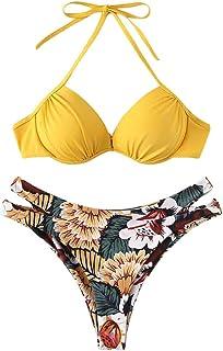 c986fd291576 JKfine Bikinis Mujer 2019 Push up con Relleno Estampado Florales - Cuello  Halter Traje de Baño