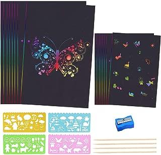 LYTIVAGEN 40 PCS Papel de Arte para Rascar, Manualidades para Rascar con 4 Plantillas de Pintura, 4 Bolígrafos, 1 Sacapuntas Papel para Dibujar (Negro)
